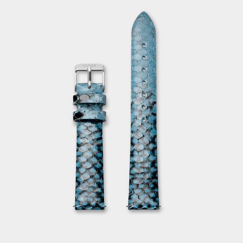 Image: CLUSE 16 mm Strap Blue Python/Silver CLS384 - Armband