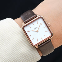 CLUSE Strap 16 mm Leather Chocolate Brown Metallic/ Rose Gold CS1408101052 - uhrenarmband am handgelenk