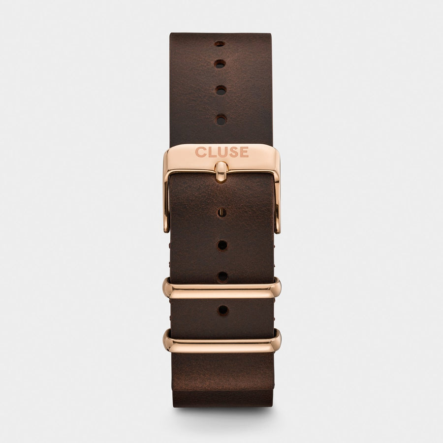 CLUSE Strap 20 mm Nato Leather, Dark Brown/ Rose Gold CS1408101070 - uhrenarmband
