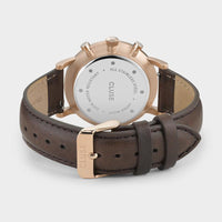 CLUSE Aravis chrono leather rose gold white/dark brown CW0101502002 - Verschluss und Rückansicht