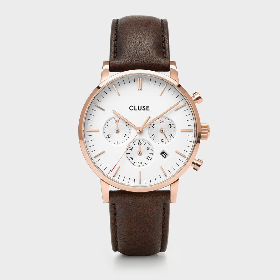 CLUSE Aravis chrono leather rose gold white/dark brown CW0101502002 - Uhr