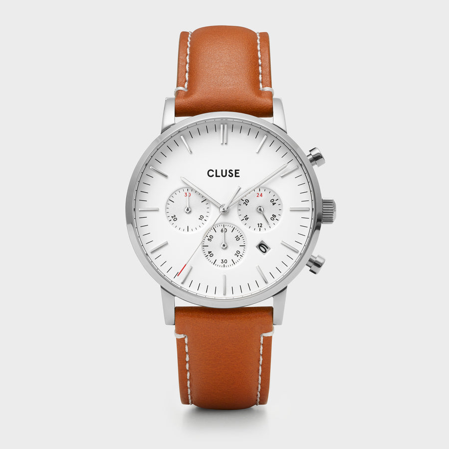 CLUSE Aravis chrono leather silver white/light brown CW0101502003 - Uhr