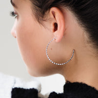 CLUSE Essentielle Silver All Hexagons Hoop Earrings CLJ52008 - ohrringe am ohr
