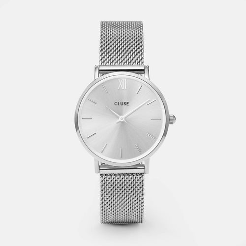 Image: CLUSE Minuit Mesh Full Silver CL30023 - Uhr