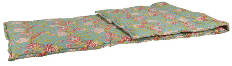 IB Laursen Petrol Blue With Pink Flowers Cotton Cushioned Mattress