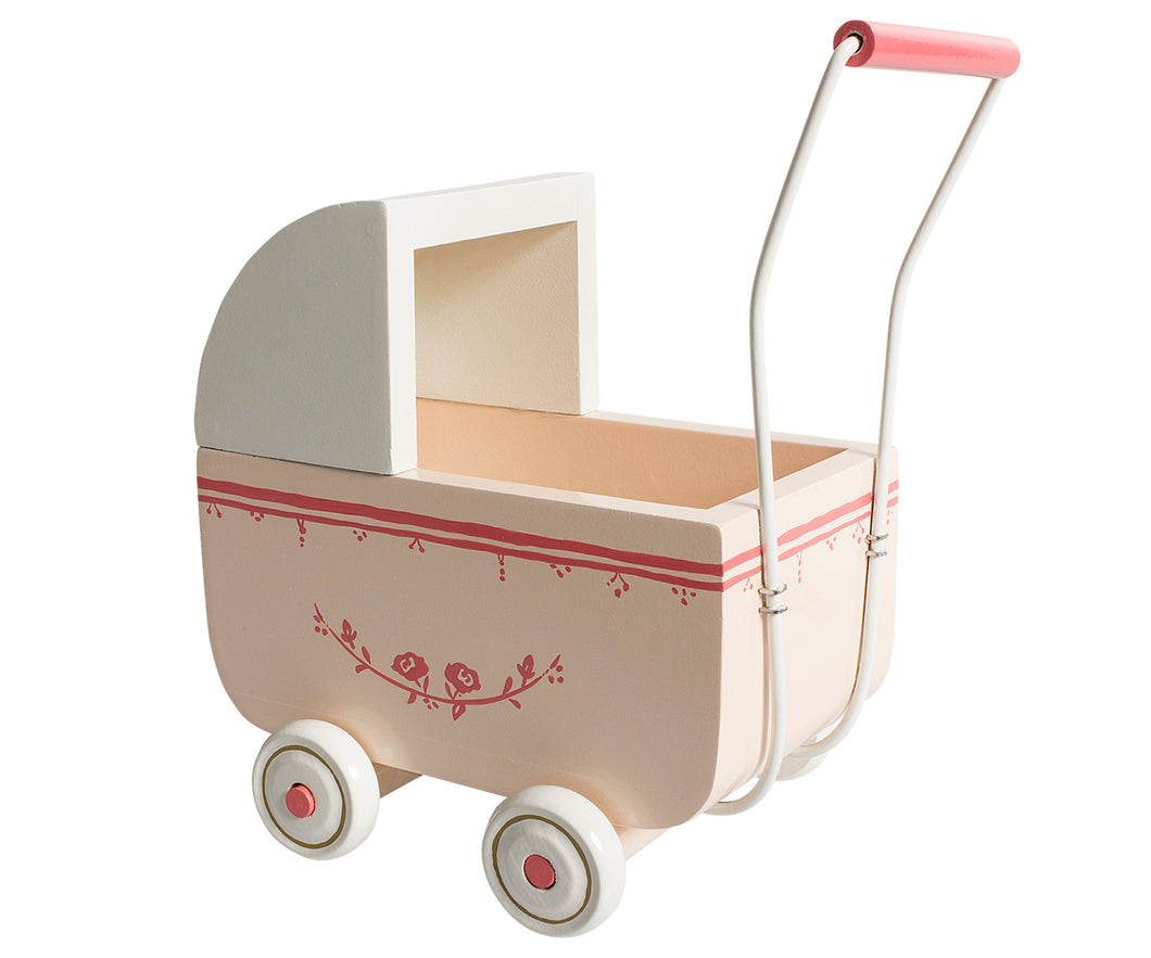 Pink Toy Pram With Bedding for Micro Bunnies and Mice