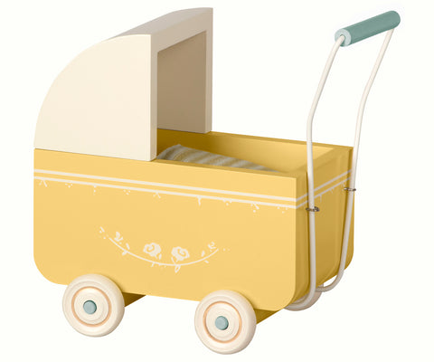 Maileg Yellow Toy Pram With Bedding for Micro Bunnies and Mice Children- a-fly-went-by.myshopify.com