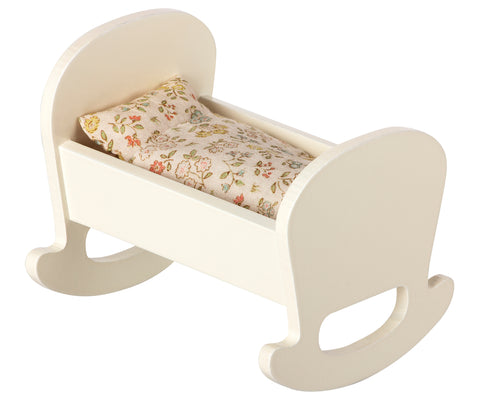Wooden Rocking Cradle with Bedding for Baby Mice