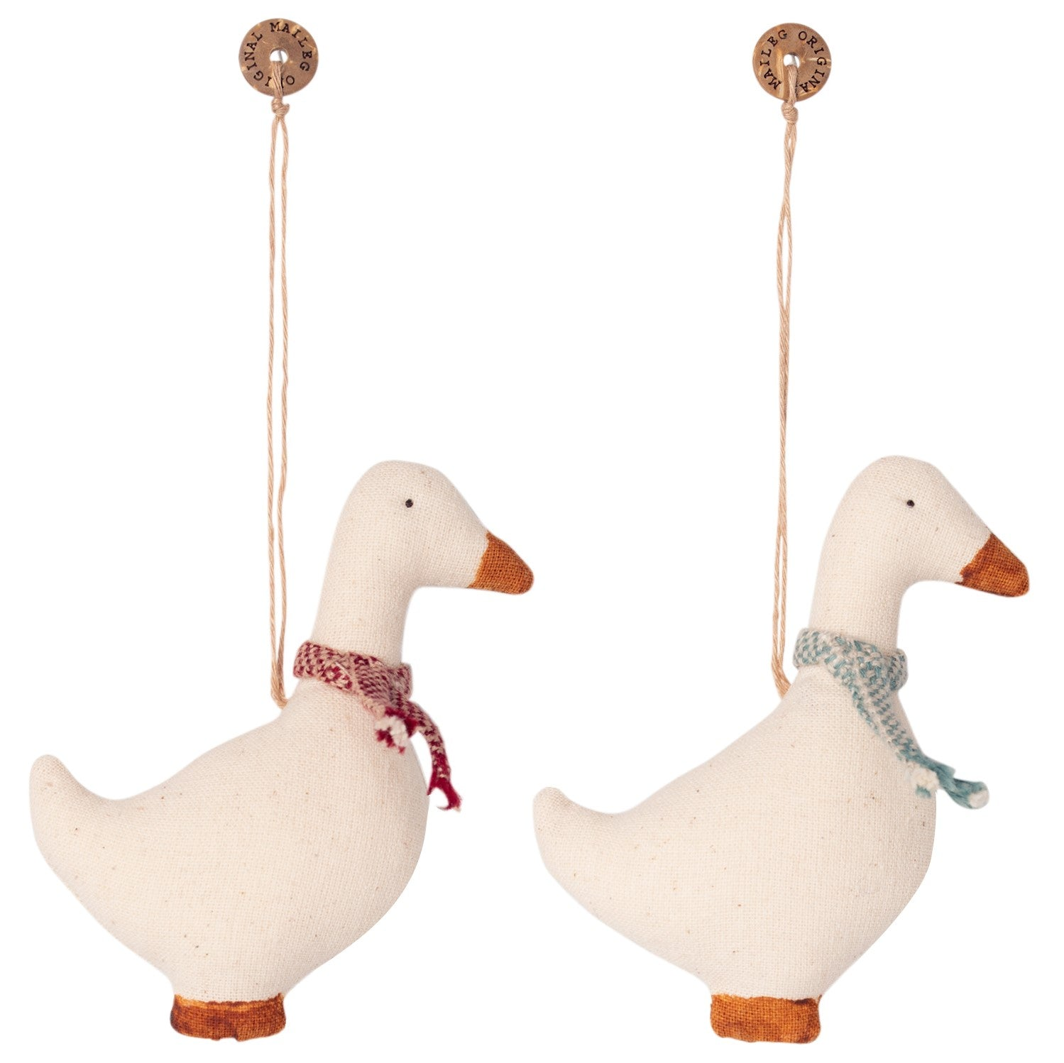Set of 2 Cotton Goose Christmas Tree Decorations