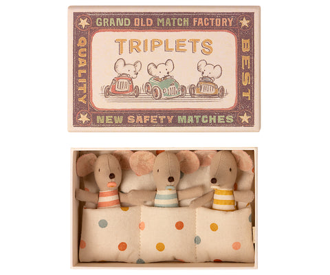 Baby Mouse Triplets in Matchbox by Maileg - A Fly Went By