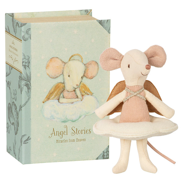 Big Sister Angel Mouse in Book Box by Maileg - A Fly Went By