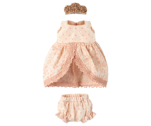 Maileg Micro Rose and Gold Princess Dress Children- a-fly-went-by.myshopify.com