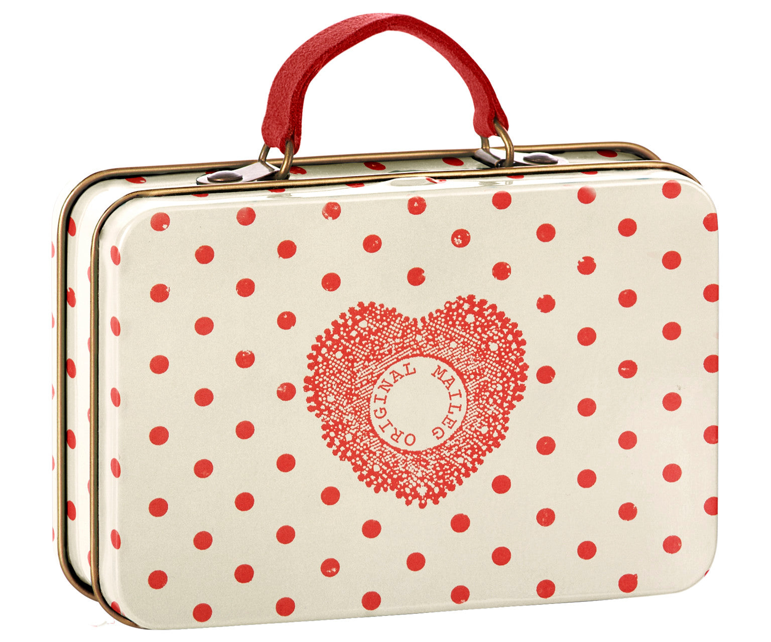 Maileg Cream with Coral Dot Metal Toy Suitcase Children- a-fly-went-by.myshopify.com