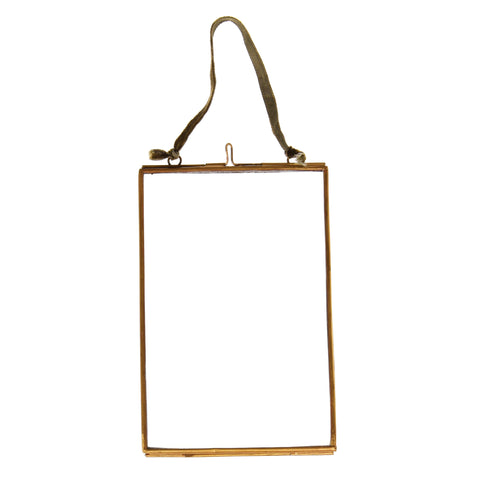 Small Hanging Brass and Glass Photo Frame