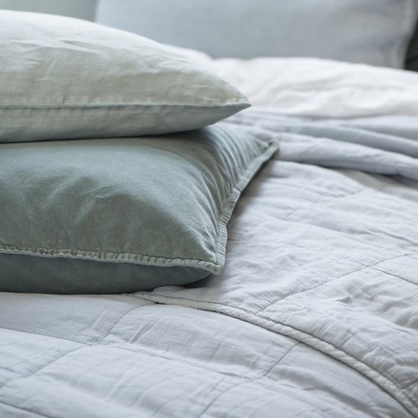 Huge Pale Blue Quilted Double Bedspread