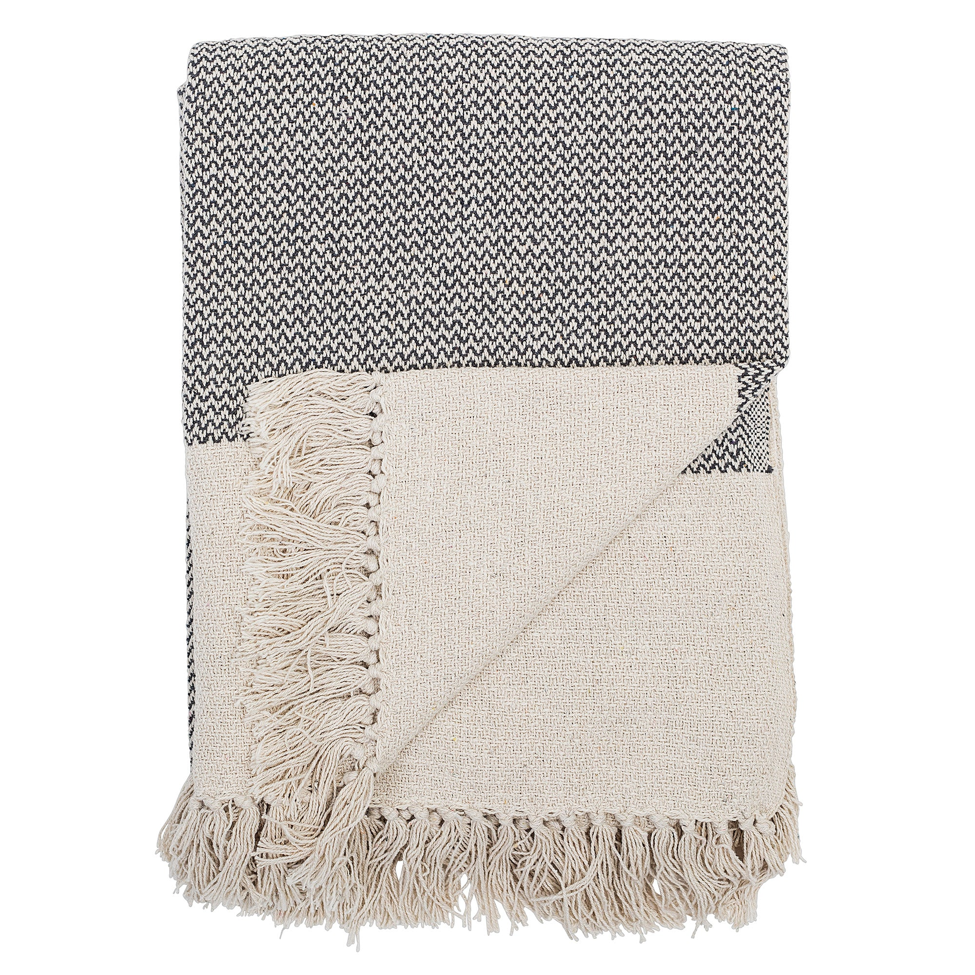 Bloomingville Large Grey and Off White Cotton Throw Homeware- a-fly-went-by.myshopify.com