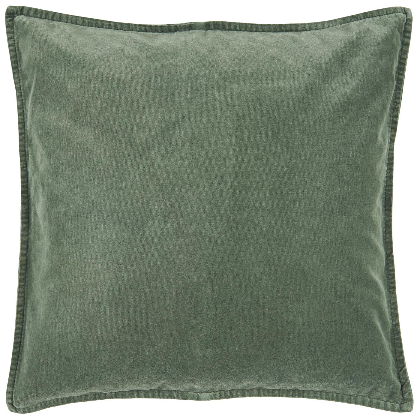 Dusty Chalk Green Velvet Cushion Including Feather Pad