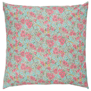 IB Laursen Pink And Turquoise Floral Cushion Including Feather Pad