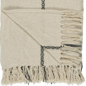 Large Off-White Cotton Throw with Pretty Black Stripes