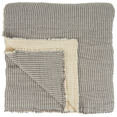 IB Laursen Huge Grey And Off-White Ribbed Double Bedspread