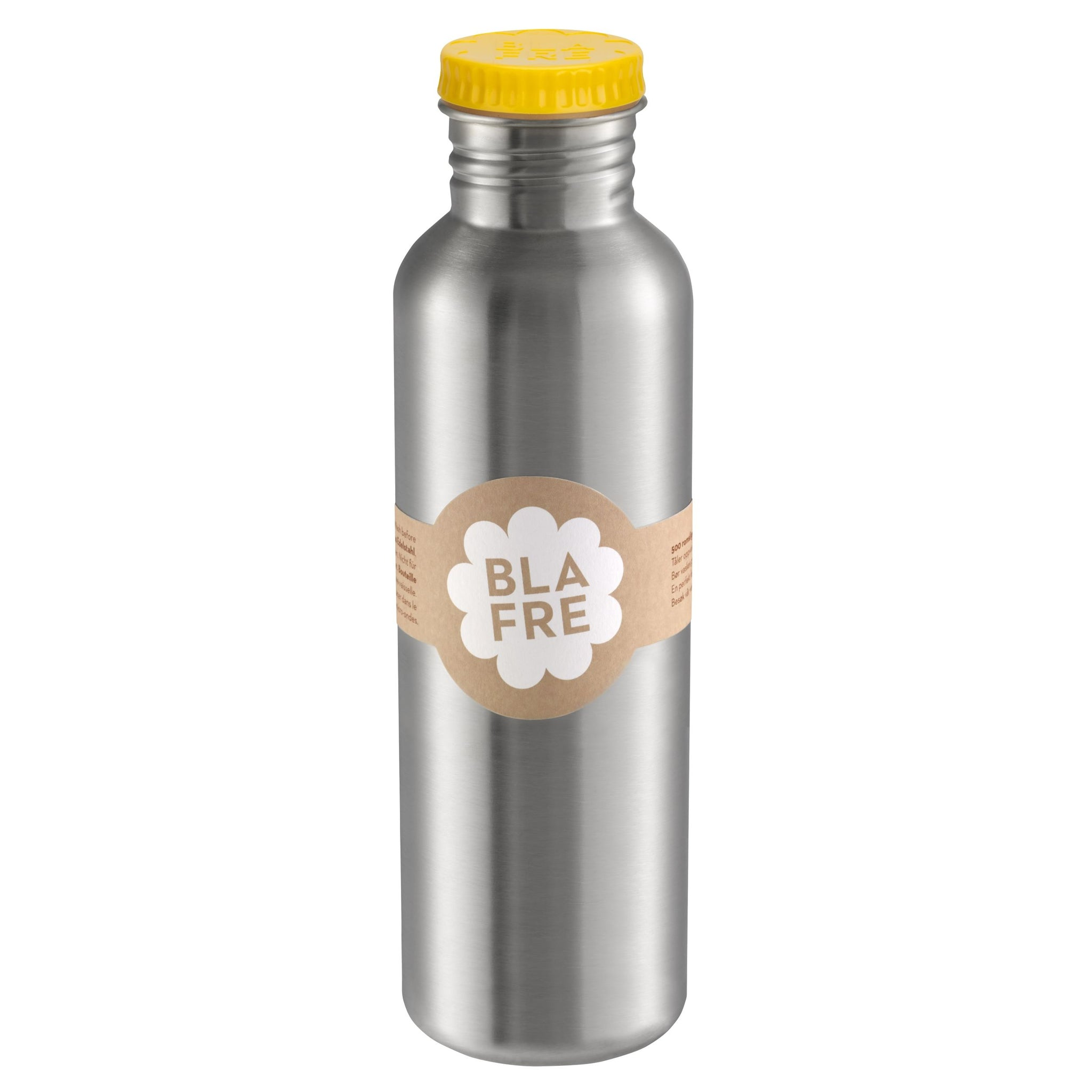 750ml Steel Water Drinking Bottle with Yellow Lid by Blafre - A Fly Went By