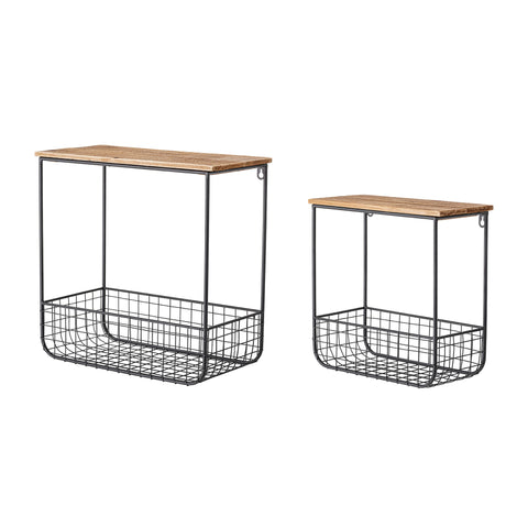 Set of 2 Metal and Wooden Shelves with Baskets