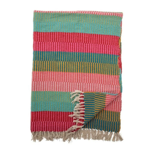 Bloomingville Large Isnel Multicoloured Striped Cotton Throw
