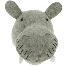 Mini Felted Wool Hippo Head by Fiona Walker England - A Fly Went By