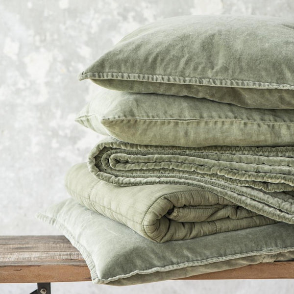 Olive Green Linen Cushion Including Feather Pad by IB Laursen - A Fly Went By