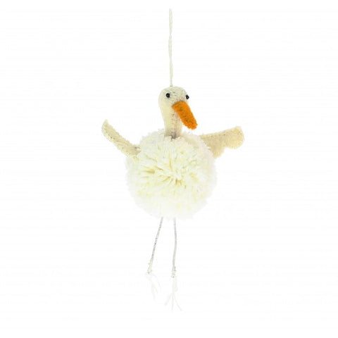 Hanging Pompom Goose Christmas Decoration by Fiona Walker England - A Fly Went By