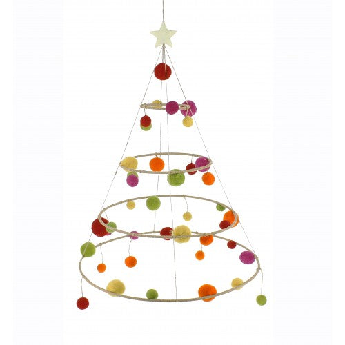 Hanging Hoop Christmas Tree with Bright Pompoms