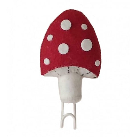 Red and White Felted Wool Mushroom Toadstool Hook by Fiona Walker England - A Fly Went By