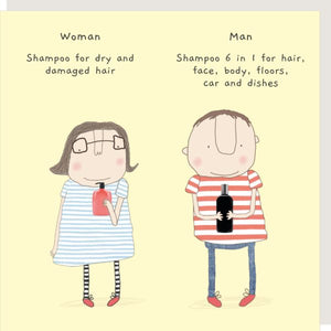 Shampoo for Women V. Shampoo for Men Card by Rosie Made a Thing - A Fly Went By