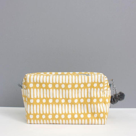 Bohemia Ochre Dot Dash Canvas Washbag Accessories- a-fly-went-by.myshopify.com