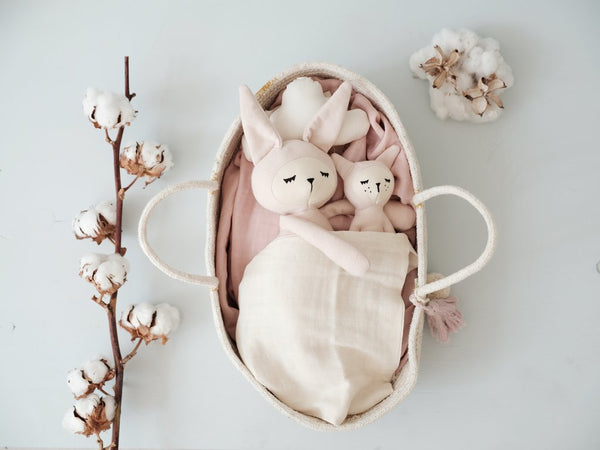 Fabelab Soft Pink Organic Cotton Rabbit Rattle Children- a-fly-went-by.myshopify.com