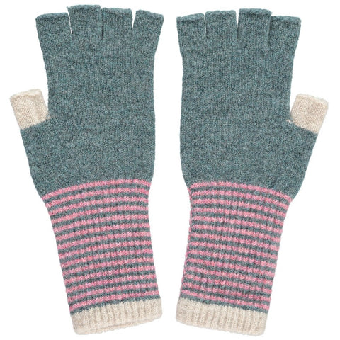 Catherine Tough Women's Sage and Pink Lambswool Wrist Warmers Accessories- a-fly-went-by.myshopify.com