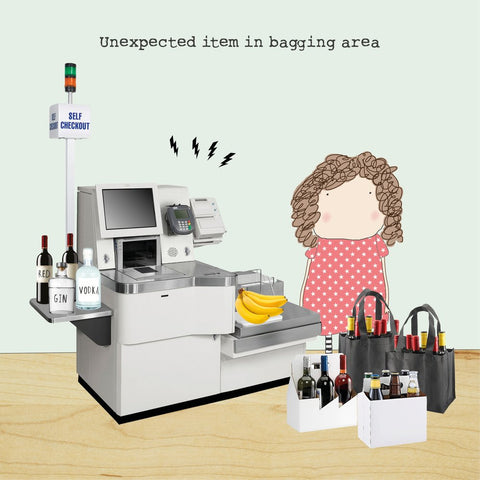 Rosie Made a Thing 'Unexpected Item in Bagging Area' Card Stationery- a-fly-went-by.myshopify.com