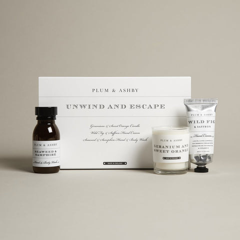 Unwind & Escape Candle, Hand Cream and Hand and Body Wash Gift Pack by Plum and Ashby - A Fly Went By