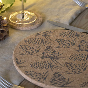 Set of 4 Grey Pinecone Sustainable Cork Placemats