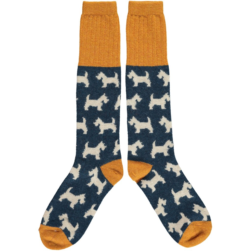 Women's Lambswool Scottie Dog Knee Length Socks by Catherine Tough - A Fly Went By
