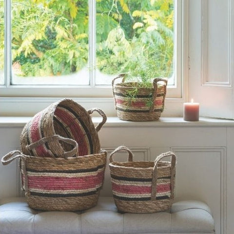 Set of 4 Natural and Rose Baskets With Handles by Grand Illusions - A Fly Went By