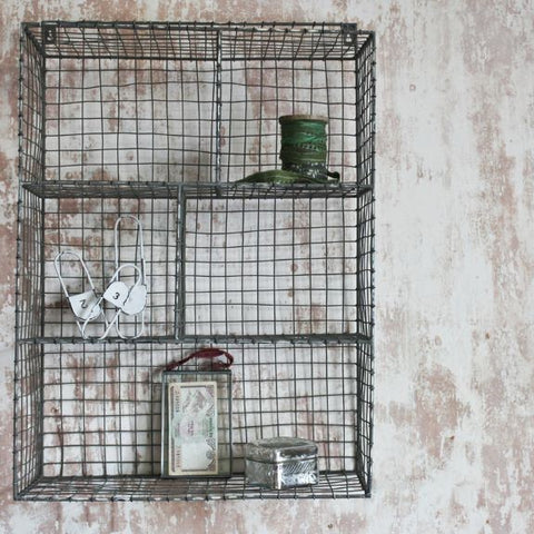 Distressed Grey Locker Room Shelf Unit