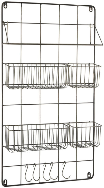 Altum Metal Wall Hanging Storage with Shelf, Baskets and Hooks