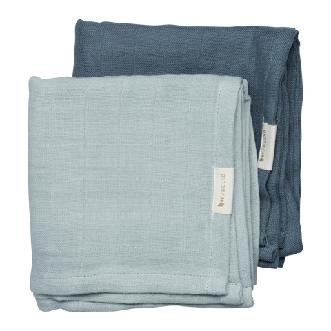 Set of 2 Blue/Spruce Muslin Cloths by Fabelab - A Fly Went By