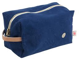 Large Navy Cube Waterproof Lined Toiletry Bag