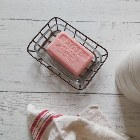 Rose French market soap bar in soap dish
