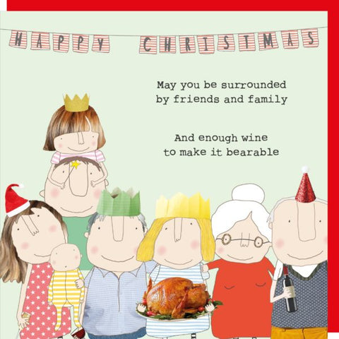 'May You be Surrounded by Friends and Family...Wine' Christmas Card