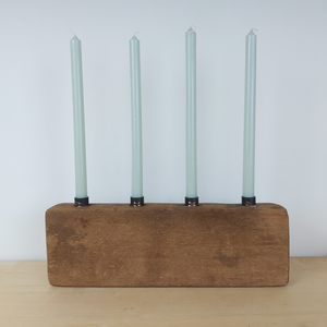 Unique Wooden Candle holder with 4 Pale Green Taper Candles by IB Laursen - A Fly Went By