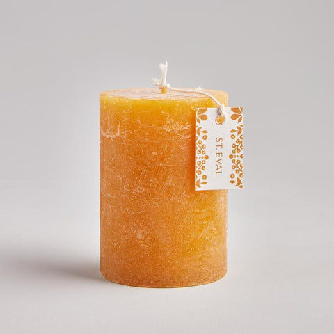 Amber Hand Poured Pillar Candle