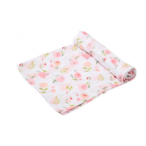 pink and green floral baby's muslin swaddle with white background
